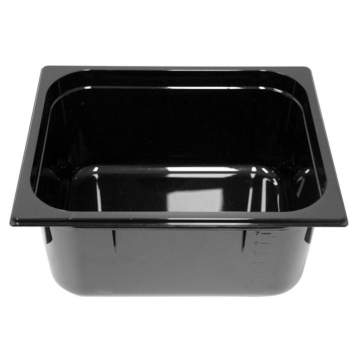 Polycarb PC-12150BK Gastronorm Black Food Pans 1/2 150mm Deep