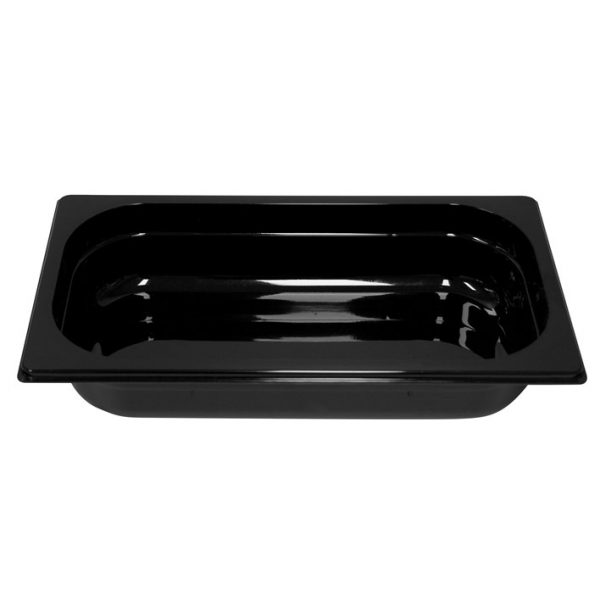 Polycarb PC-13065BK Gastronorm Black Food Pans 1/3 65mm Deep