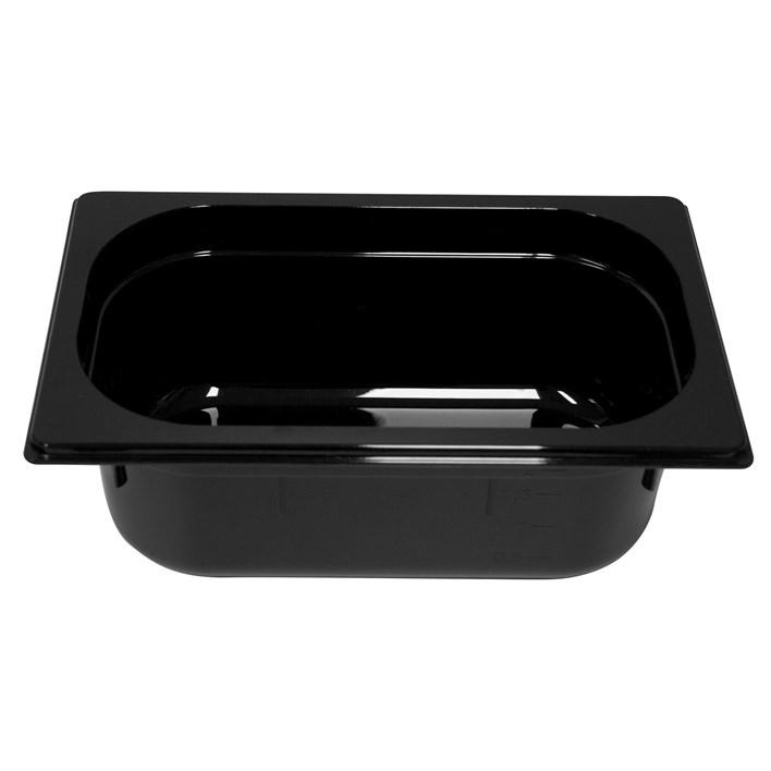 Polycarb PC-14100BK Gastronorm Black Food Pans 1/4 100mm Deep