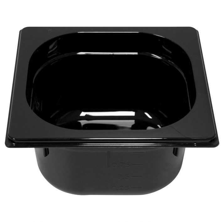 Polycarb PC-16100BK Gastronorm Black Food Pans 1/6 100mm Deep