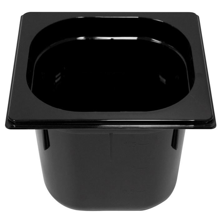 Polycarb PC-16150BK Gastronorm Black Food Pans 1/6 150mm Deep