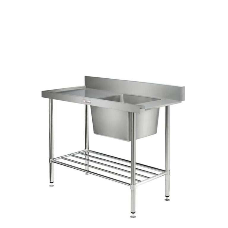 Simply Stainless S/Steel Dishwasher Inlet Sink Bench SS08.7.1200R (Single Sink) 1200mm 'Right to Left'