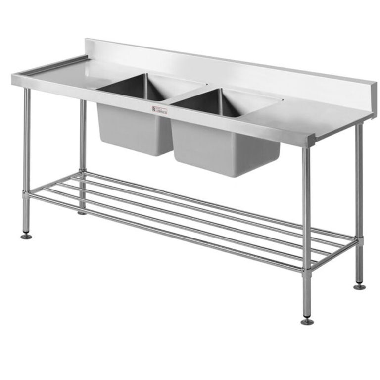 Simply Stainless S/Steel Dishwasher Inlet Sink Bench SS09.7.1650DB R (Double Sink)'Right to Left' Flow