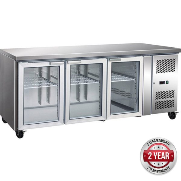 Thermaster GN3100TNG Under-Counter Fridge (Three Glass Door)