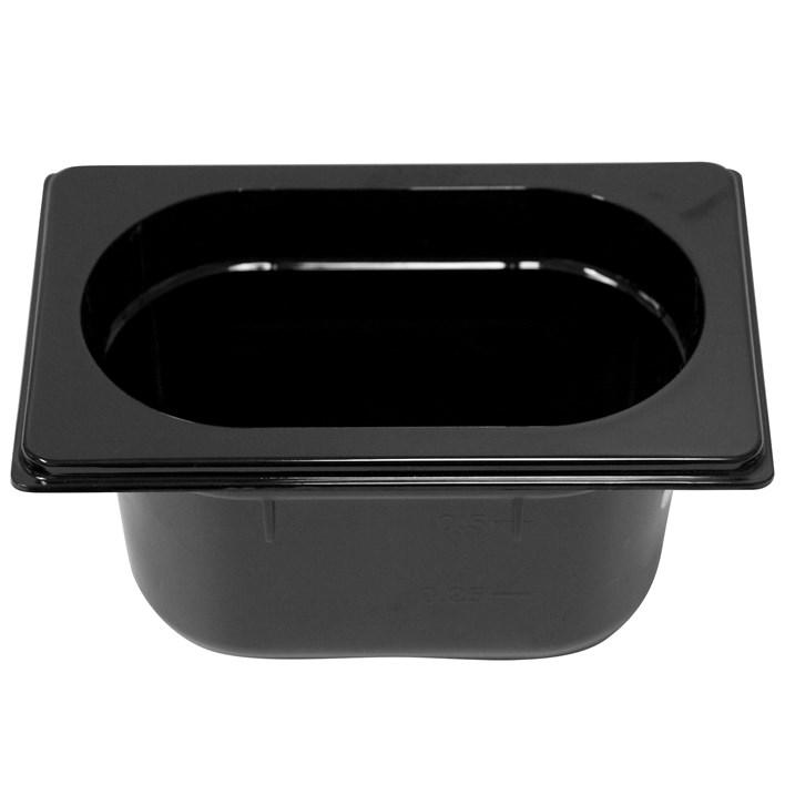Polycarb PC-19100BK Gastronorm Black Food Pans 1/9 100mm Deep